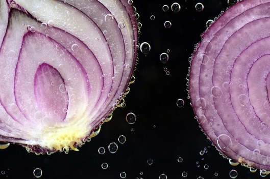 Close up image of a cut onion