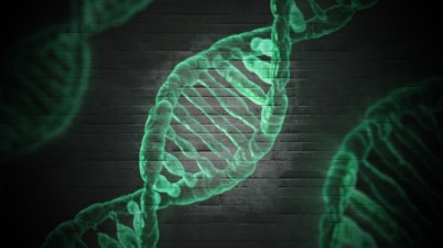 Image showing green DNA on a black background