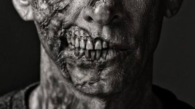 Close-up image of a zombie for biotrivia